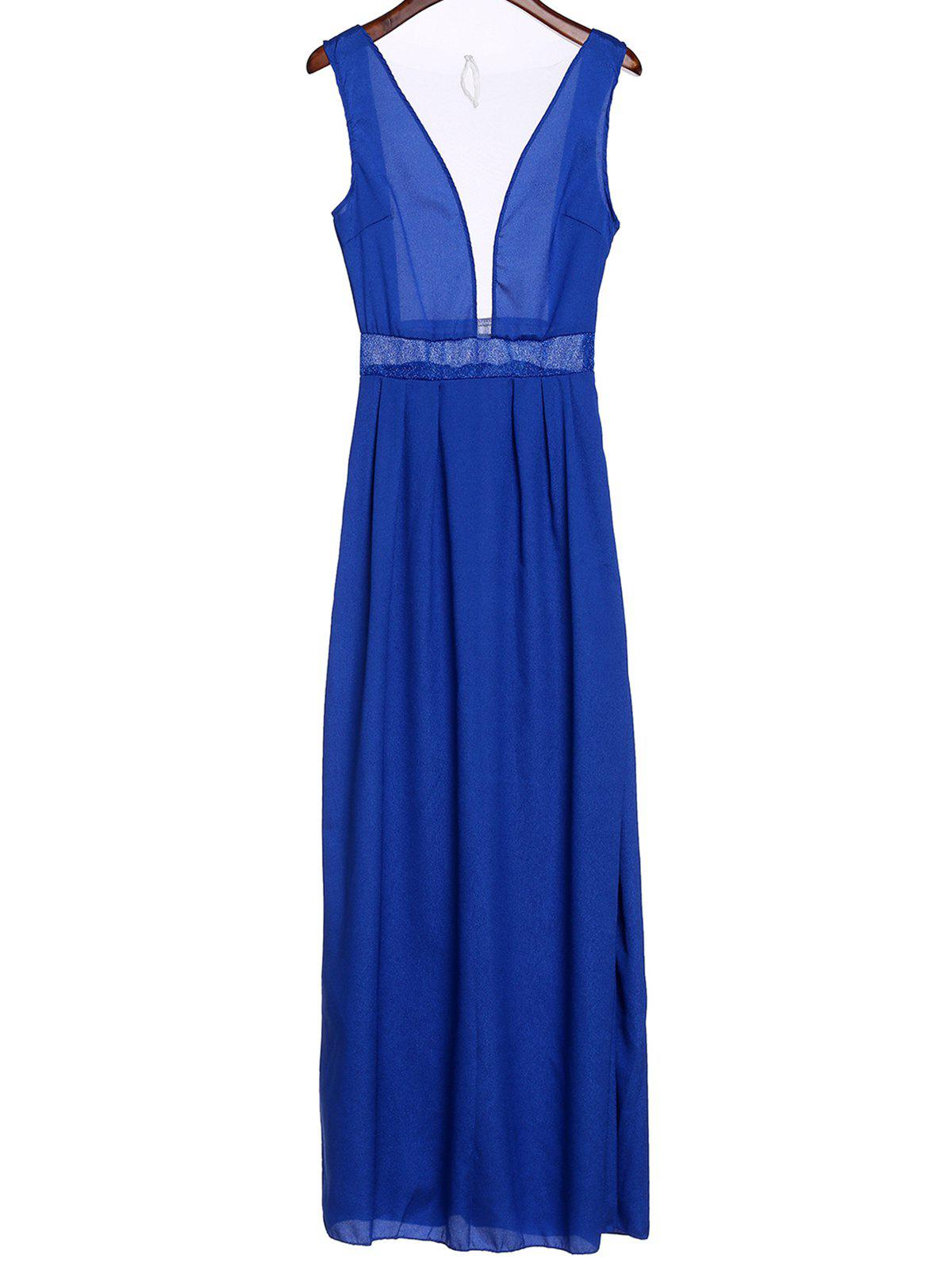 Sexy Sleeveless Plunging Neck Spliced See-Through Women's Prom Dress - BLUE S