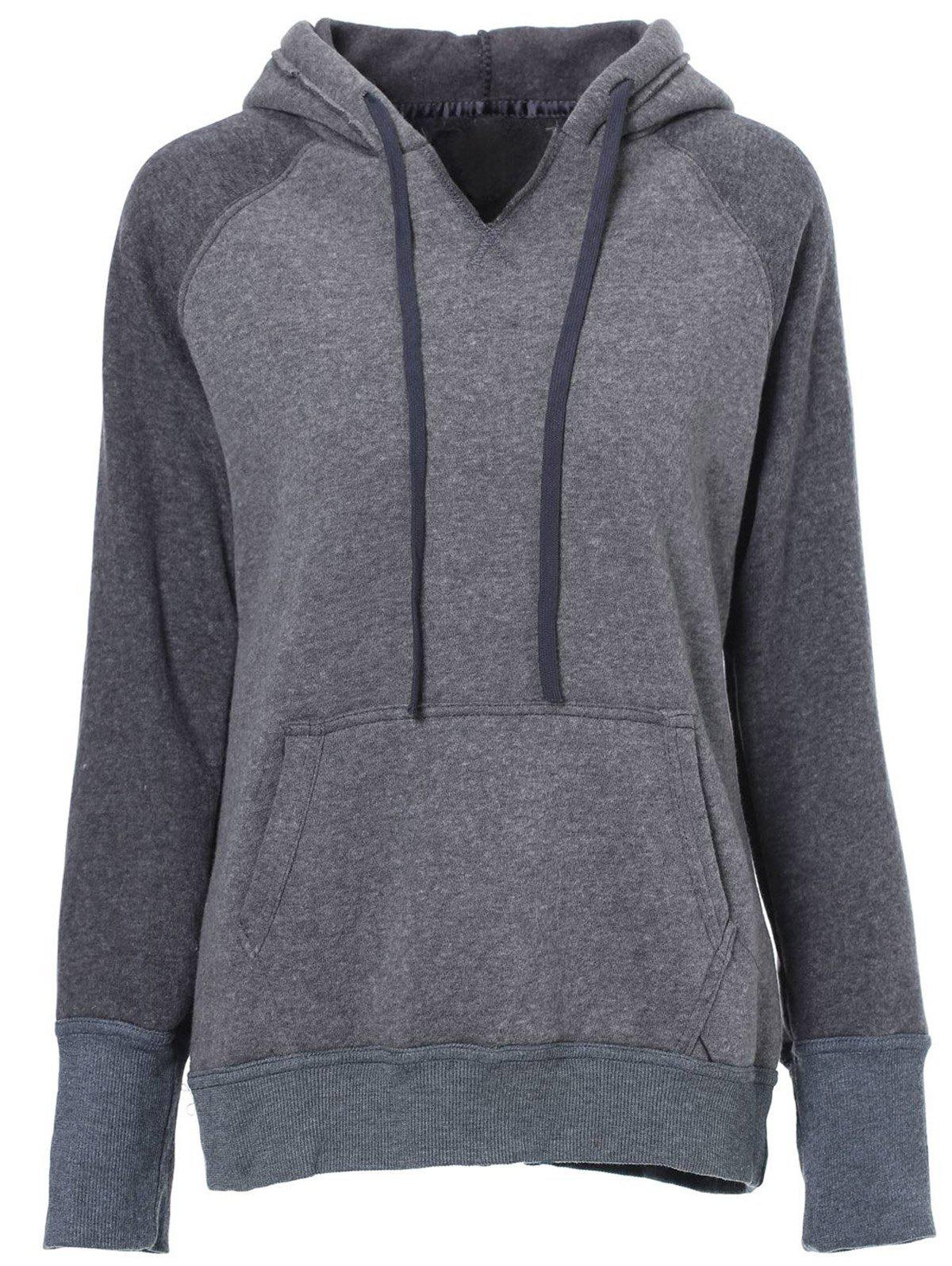 Casual Style Long Sleeve Hooded Front Pocket Design Spliced Women's Pullover Hoodie - GRAY S