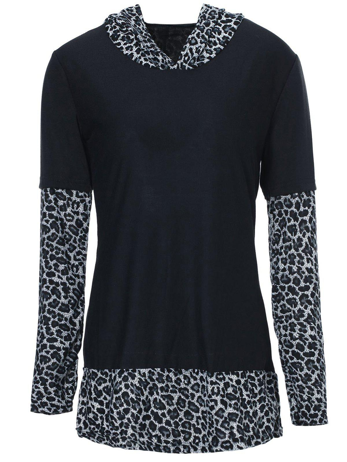 Sexy Leopard Hooded Long Sleeve T-Shirt For Women - SILVER S