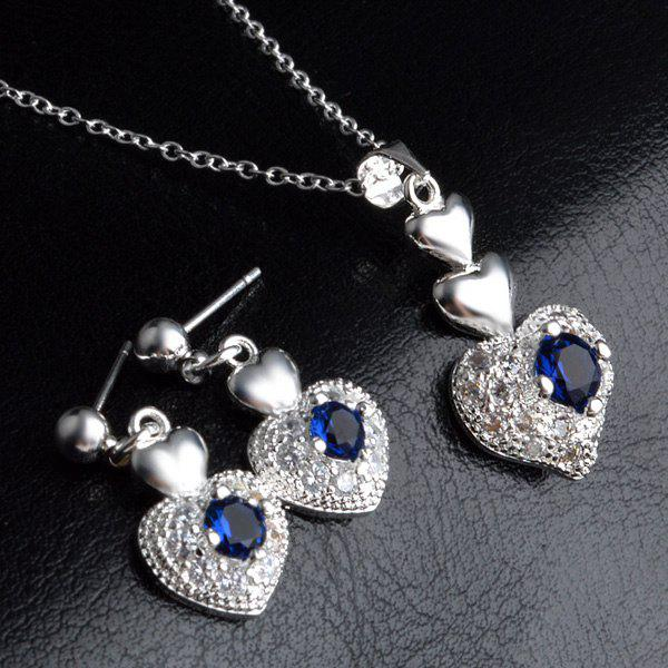 Faux Sapphire Heart Necklace and Earrings - SILVER