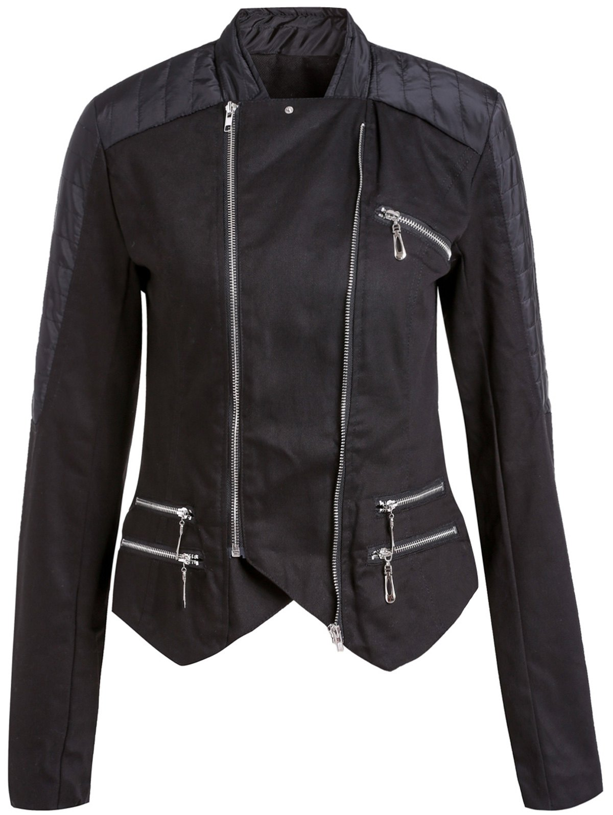 Stylish Long Sleeve Stand-Up Collar Asymmetrical Women's Motorcycle Jacket - BLACK S