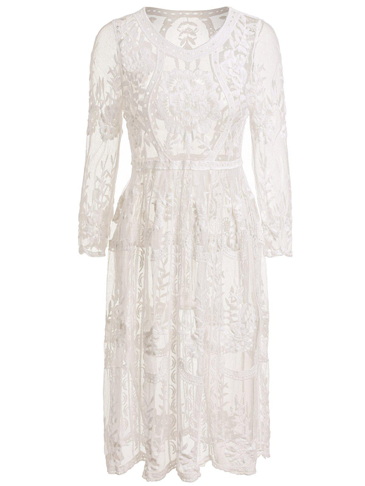 Chic V Neck Long Sleeves Flower Pattern See-Through Women's Dress - WHITE ONE SIZE(FIT SIZE XS TO M)