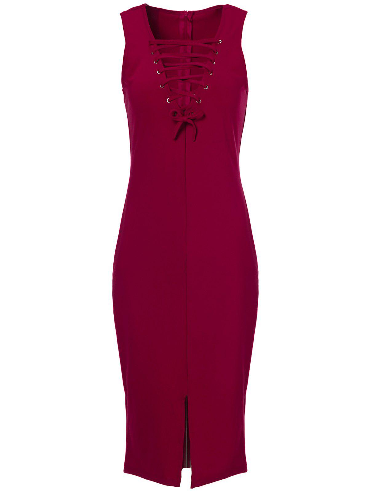 Sexy Women's V-Neck Sleeveless Lace Front Slit Dress - WINE RED ONE SIZE(FIT SIZE XS TO M)