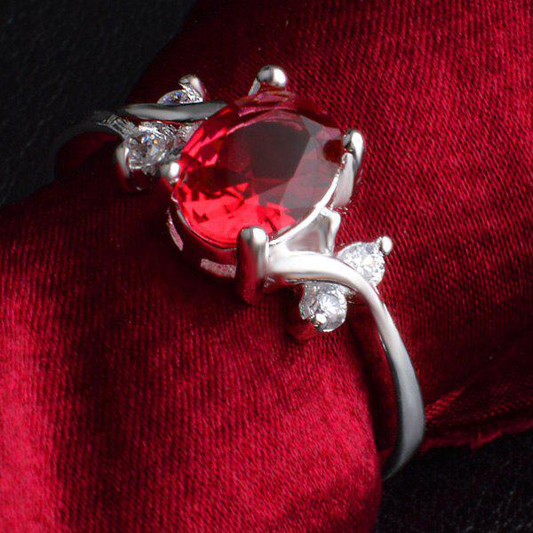 Faux Ruby Rhinestone Ring - RED ONE-SIZE