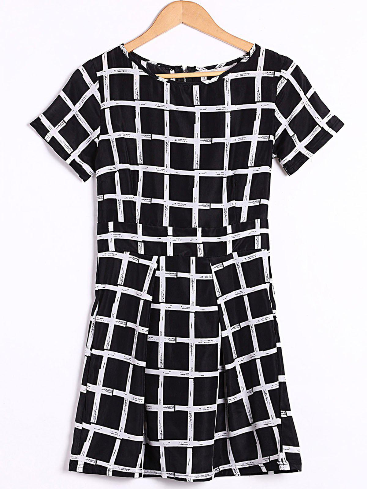 Stylish Women's Scoop Neck Short Sleeve Plaid Dress - BLACK S