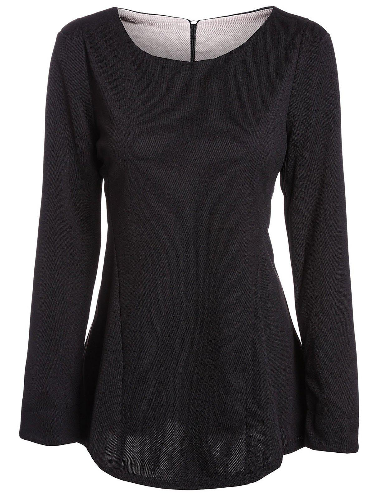 Stylish Scoop Neck Color Block Long Sleeve Ruffled Blouse For Women - BLACK XL
