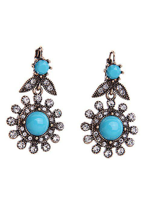 Vintage Floral Rhinestone Earrings - BLUE