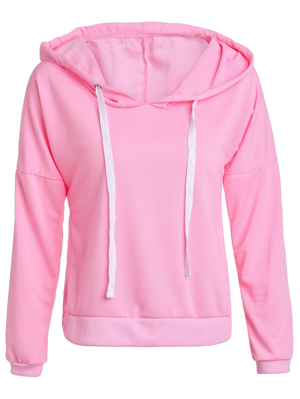 Chic Hooded Long Sleeve Pullover Hoodie For Women - PINK S