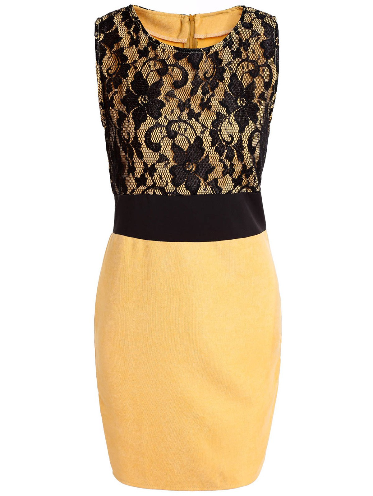OL Style Scoop Neck Sleeveless Bodycon Lace Spliced Women's Dress - YELLOW M