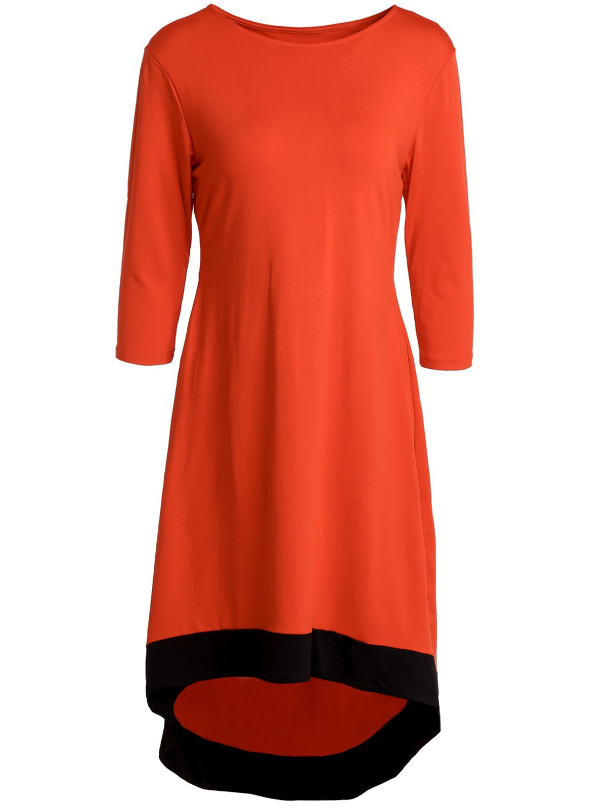 Chic 3/4 Sleeve Round Neck Asymmetrical Women's Dress - RED L