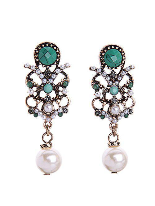 Chic Faux Pearl Gem Earrings - COLORMIX