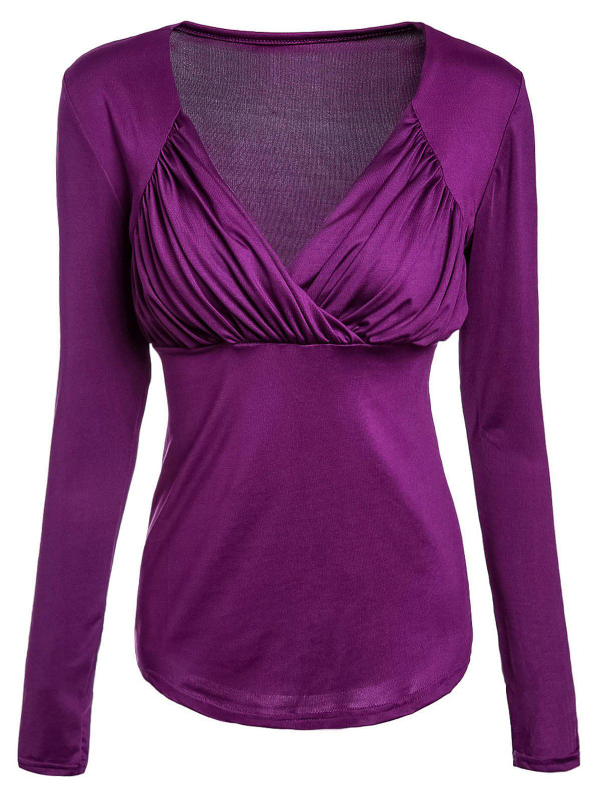 Brief Solid Color Sweetheart Neck Long Sleeve T-Shirt For Women - PURPLE M
