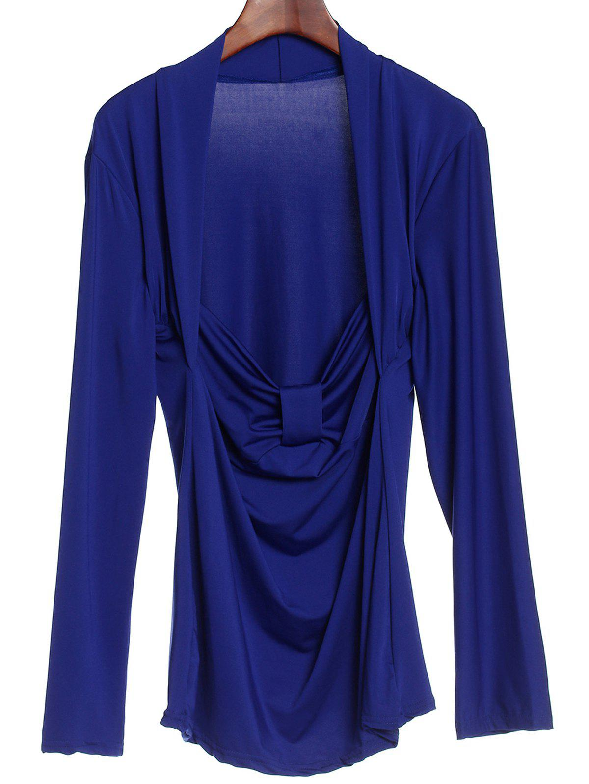 Sexy Women's Sweetheart Neck Long Sleeve Ruched T-Shirt - BLUE M