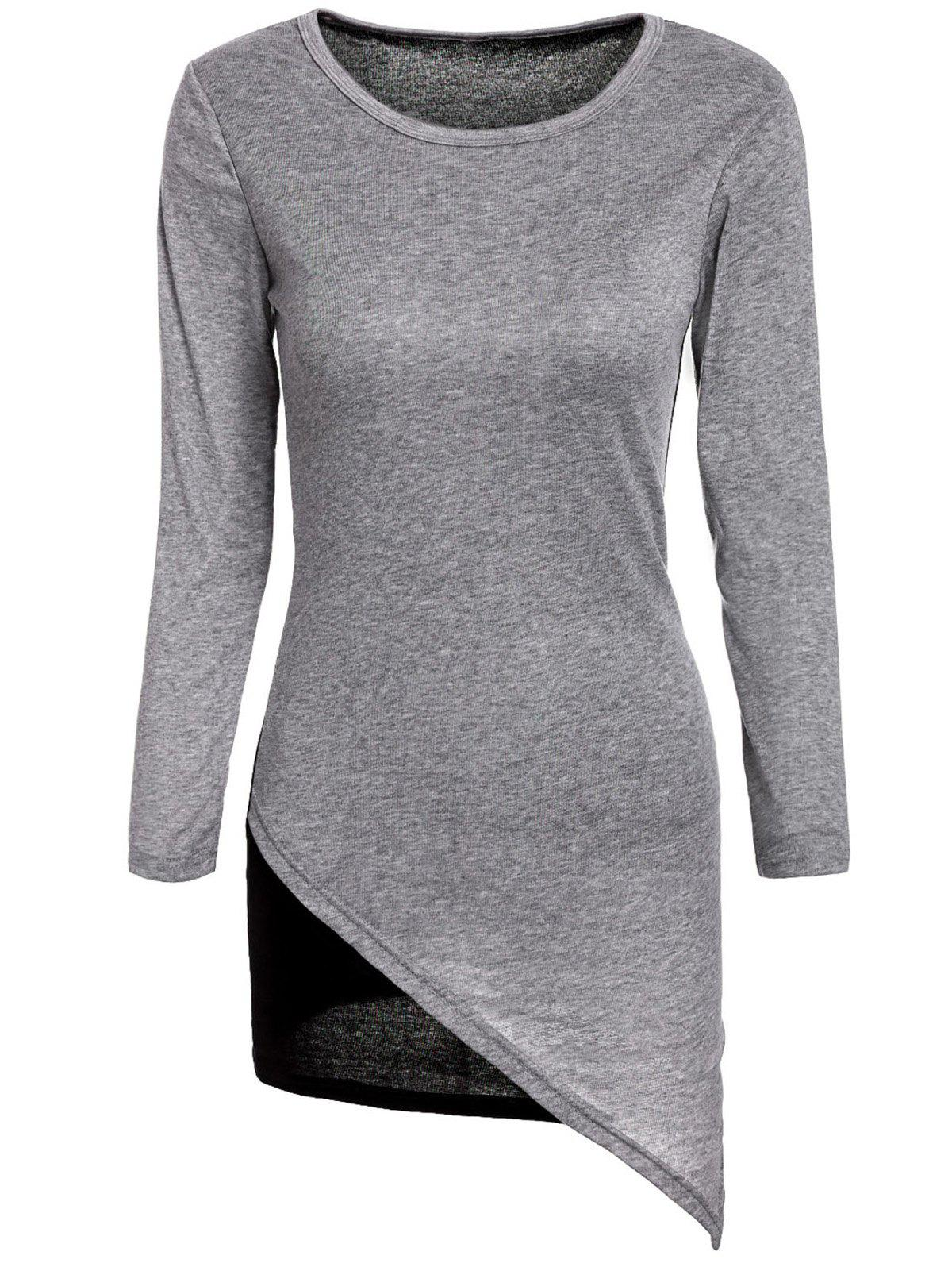 Stylish Women's Scoop Neck Long Sleeves Color Splicing Irregular Hem Flocking Dress - GRAY M