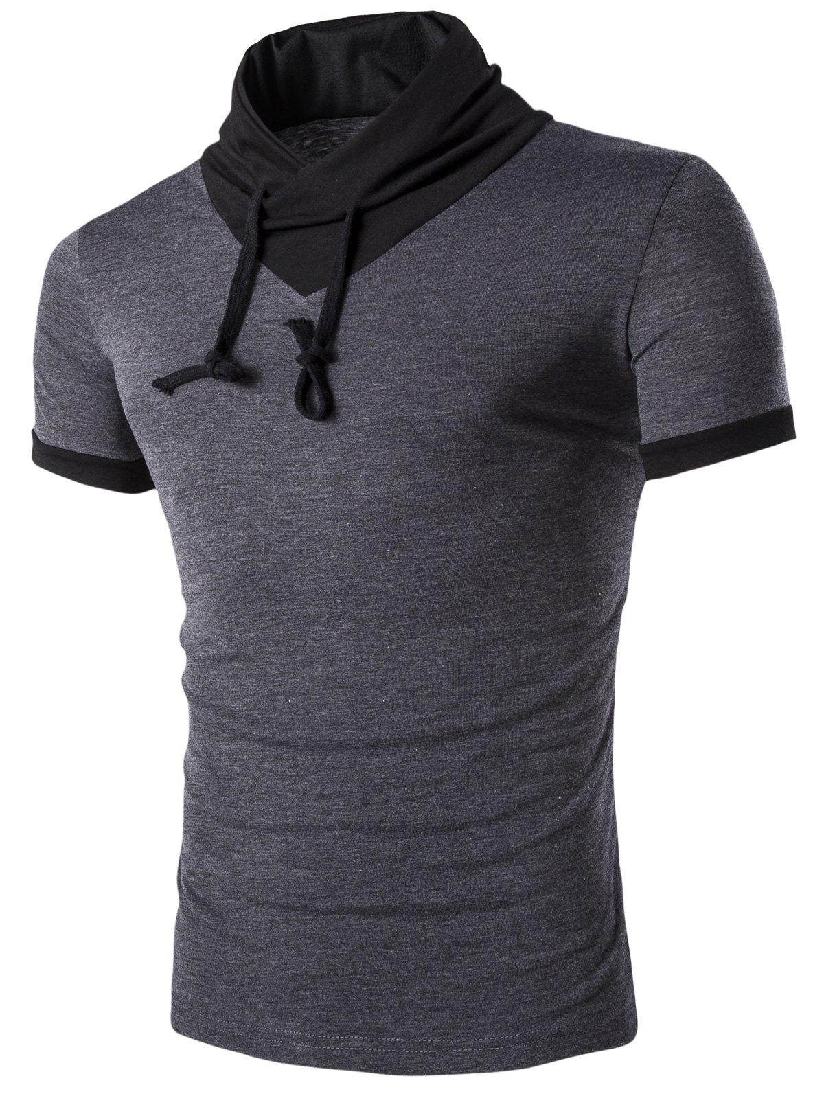Men's Stand Collar Solid Color Short Sleeve T-Shirt - DEEP GRAY L