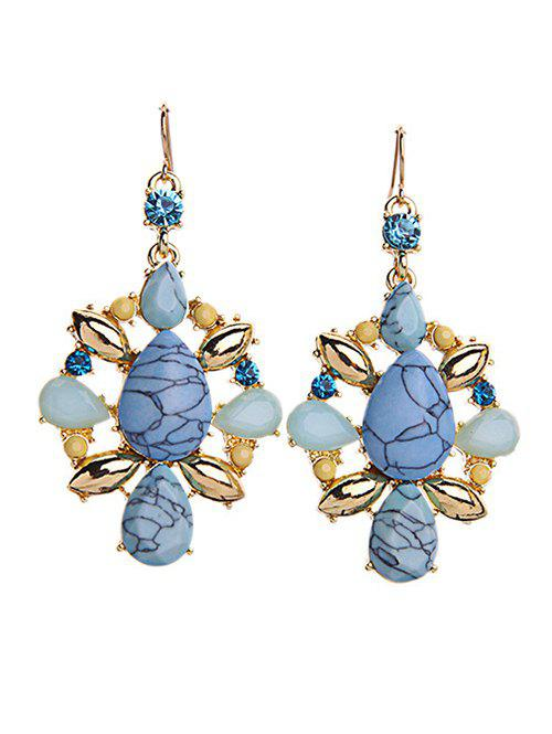 Statement Natural Stone Rhinestone Earrings - COLORMIX