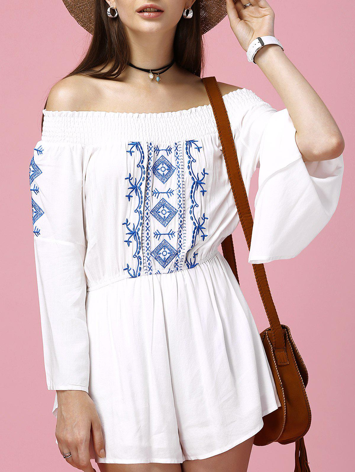 Ethnic Women's Off-The-Shoulder Flare Sleeves Embroidered Romper - WHITE 2XL
