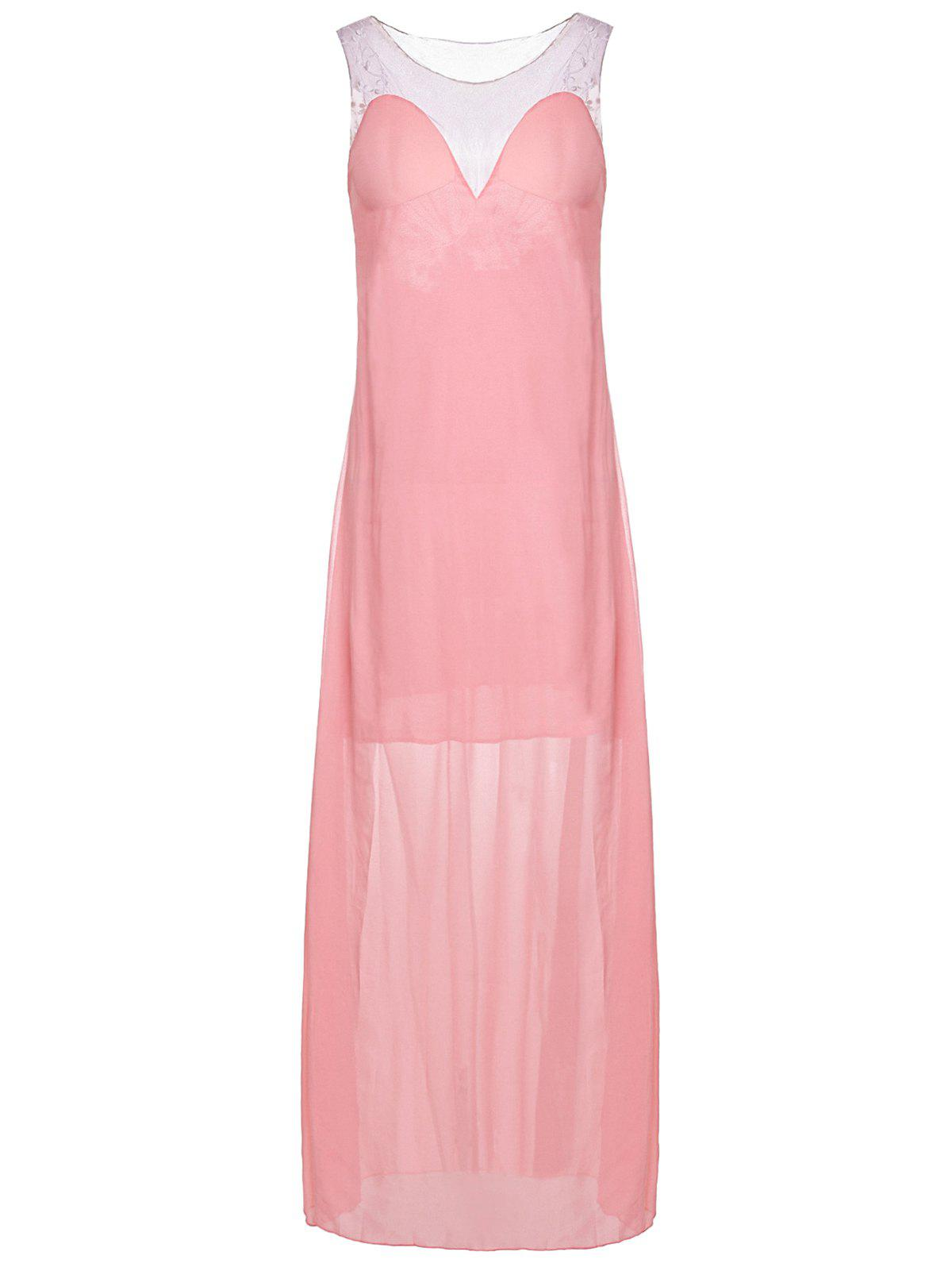 Sexy Plunging Neck Sleeveless Backless Spliced Womens DressWomen<br><br><br>Size: S<br>Color: PINK