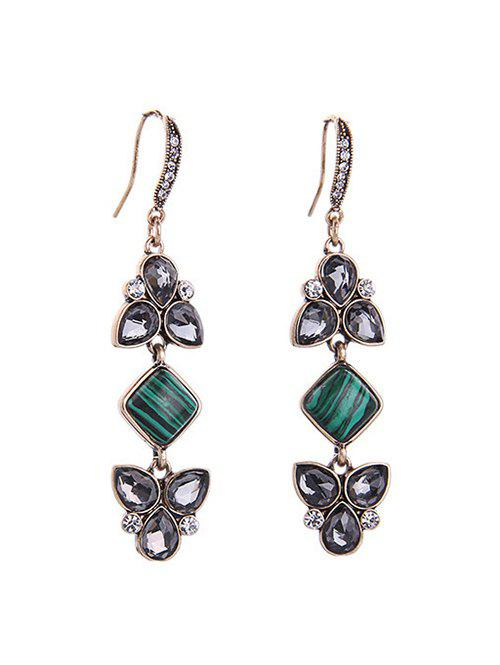 Vintage Natural Stone Faux Crystal Earrings - COLORMIX