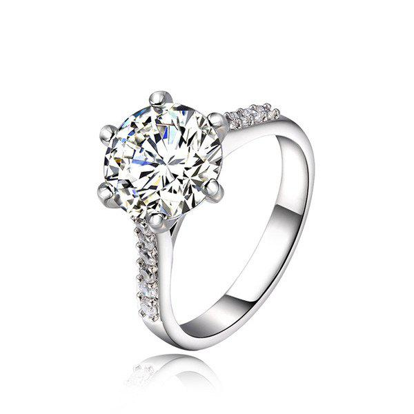 Rhinestone Silver Plated Ring - SILVER WHITE