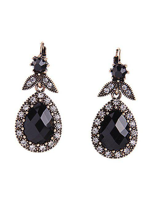 Chic Rhinestone Teardrop Earrings - BLACK