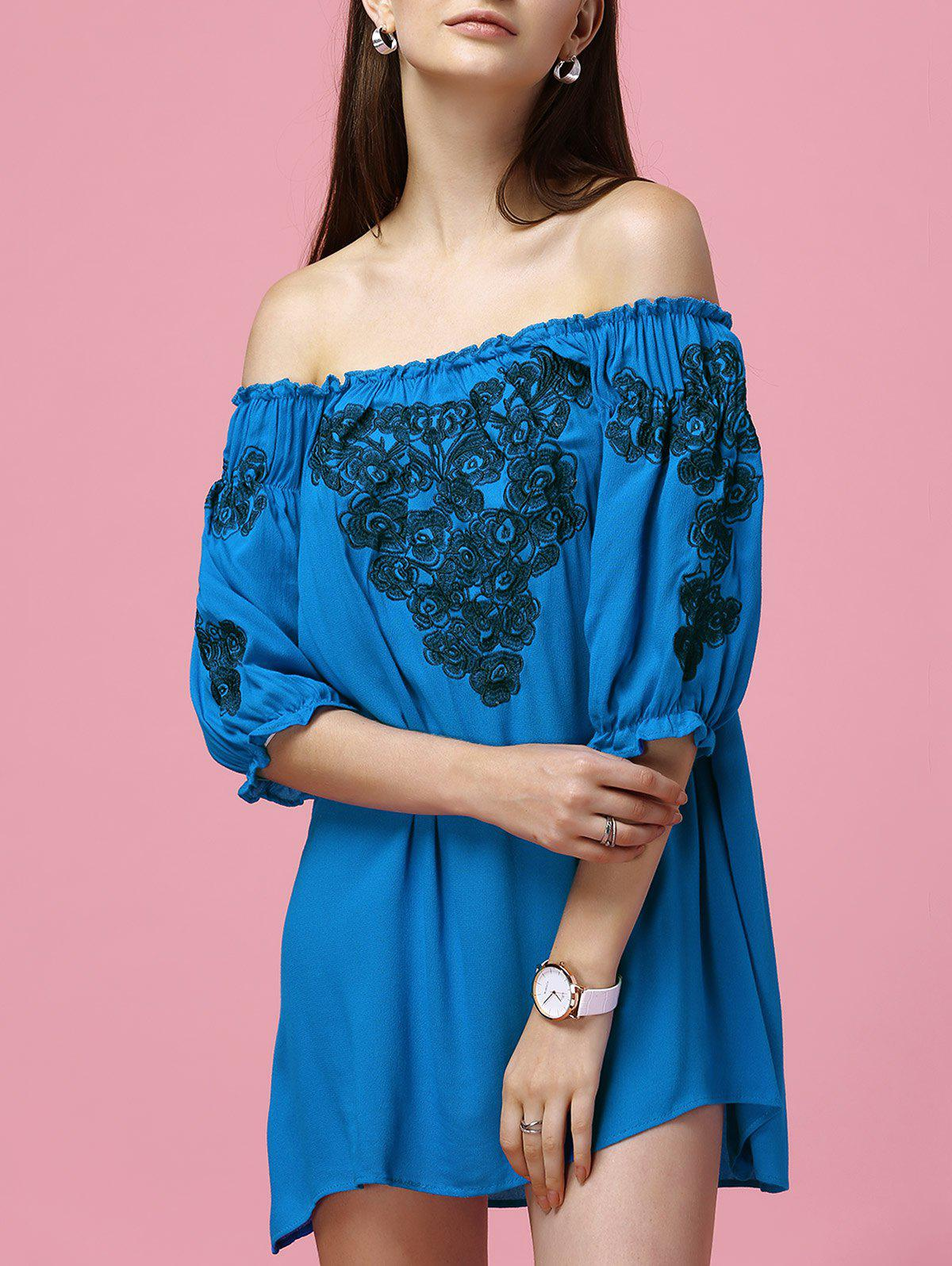 Sweet Off-The-Shoulder Half Sleeve Floral Women's Dress - BLUE L