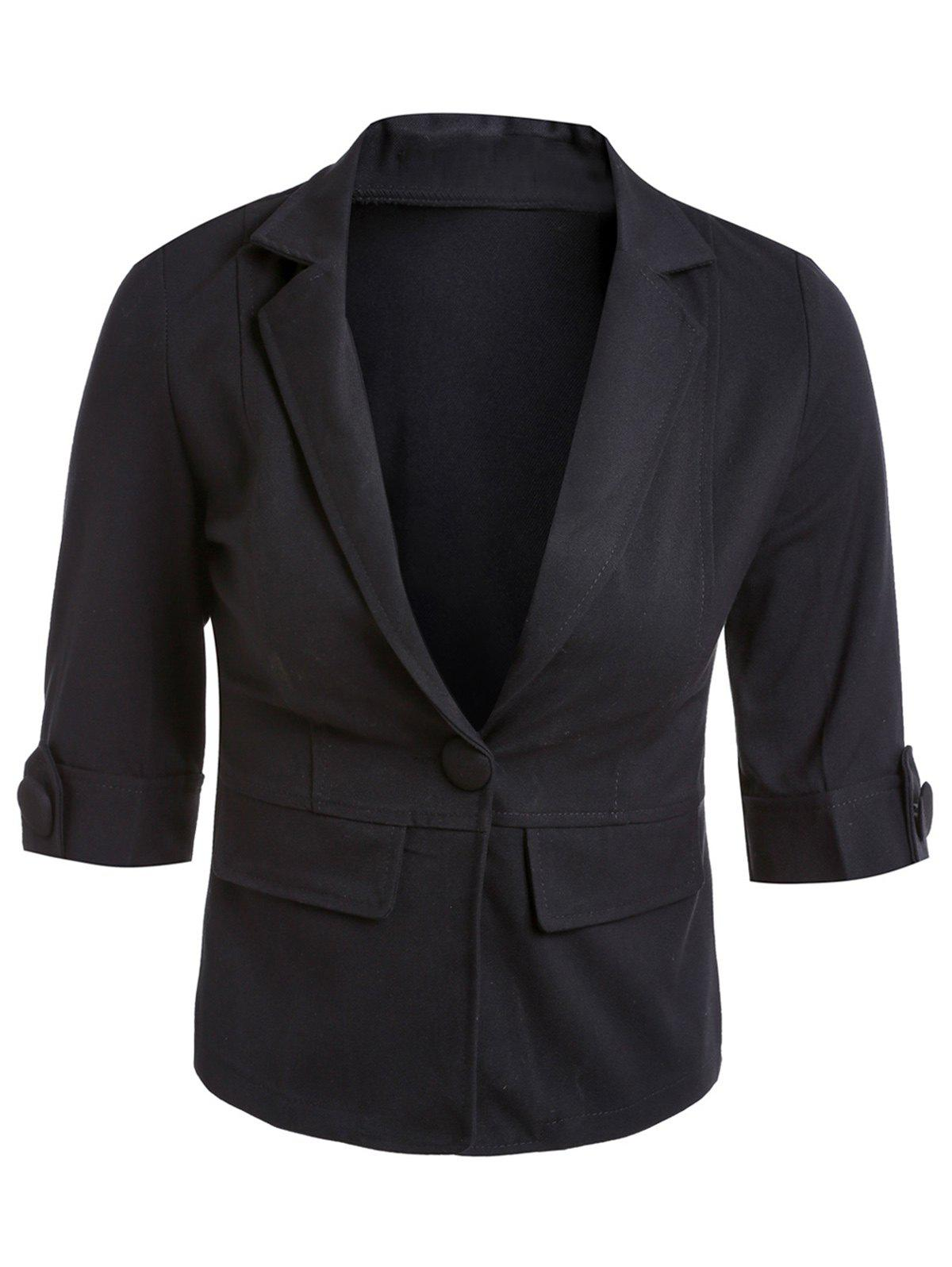 Casual Lapel 3/4 Sleeve One-Button Solid Color Women's Blazer - BLACK S
