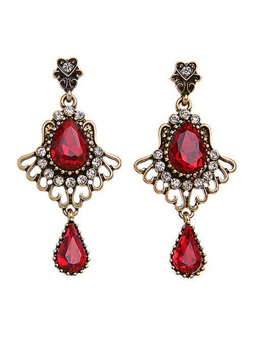 Faux Ruby Rhinestone Earrings - RED