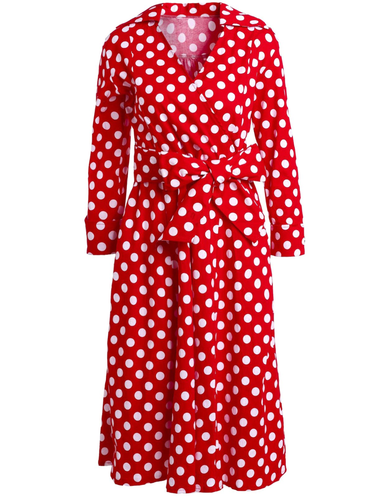 Retro Style Polka Dot Printed 3/4 Sleeve Bowknot Belted Ball Gown Dress For Women - S RED