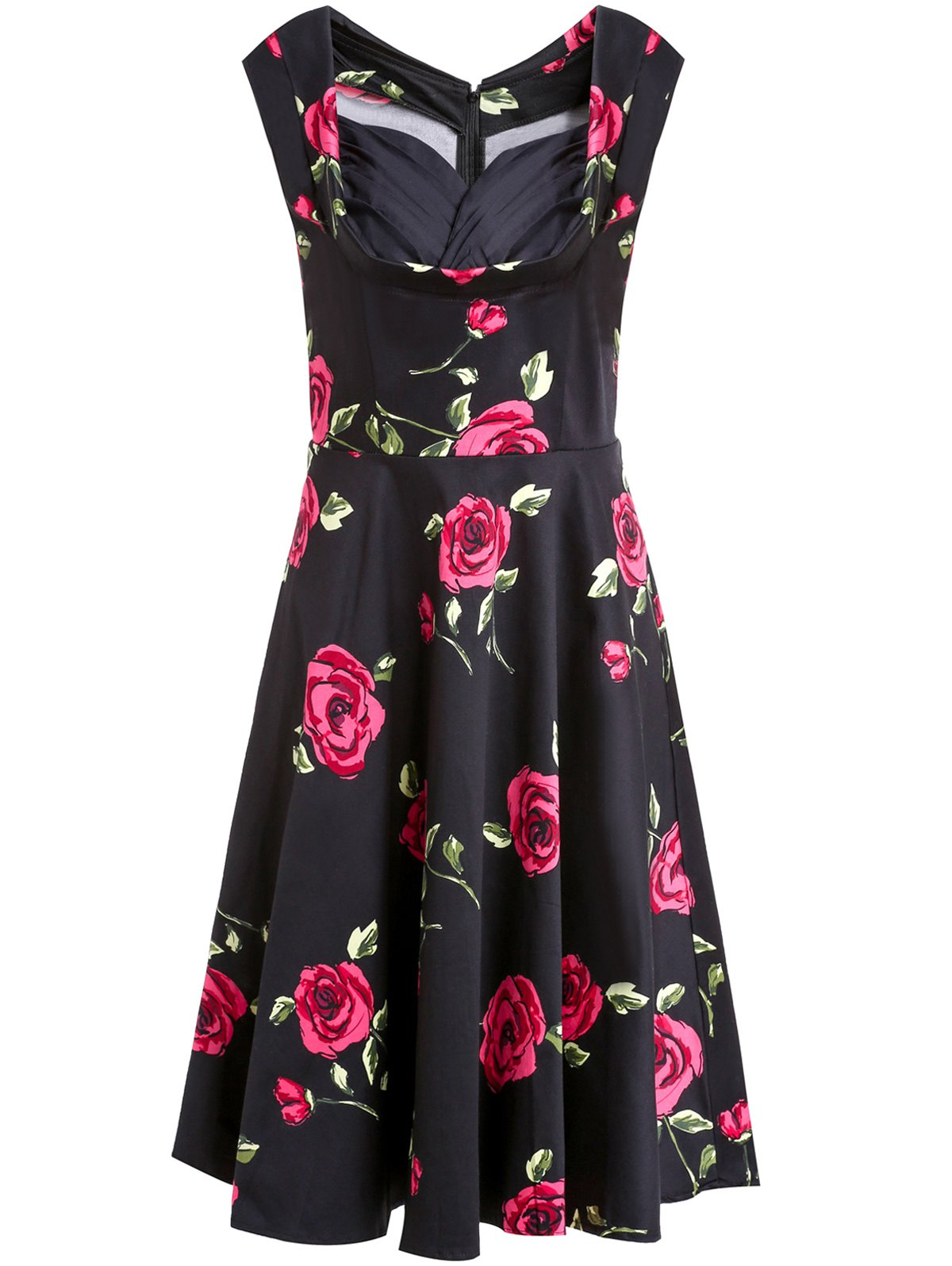 Vintage Rose Printed Sweetheart Neck Sleeveless Ball Gown Dress For Women - RED S