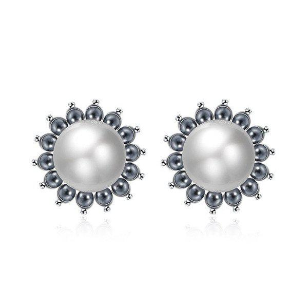 Pair of Delicate Cut Out Beads Faux Pearl Floral Stud Earrings For Women - WHITE