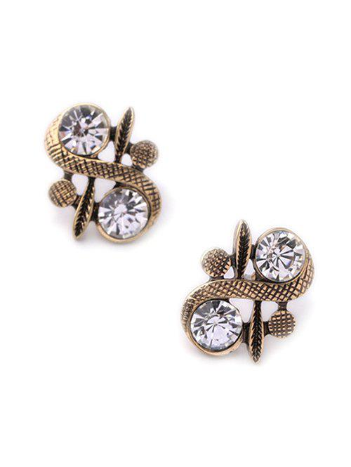Vintage Rhinestone S Shape Stud Earrings - GOLDEN
