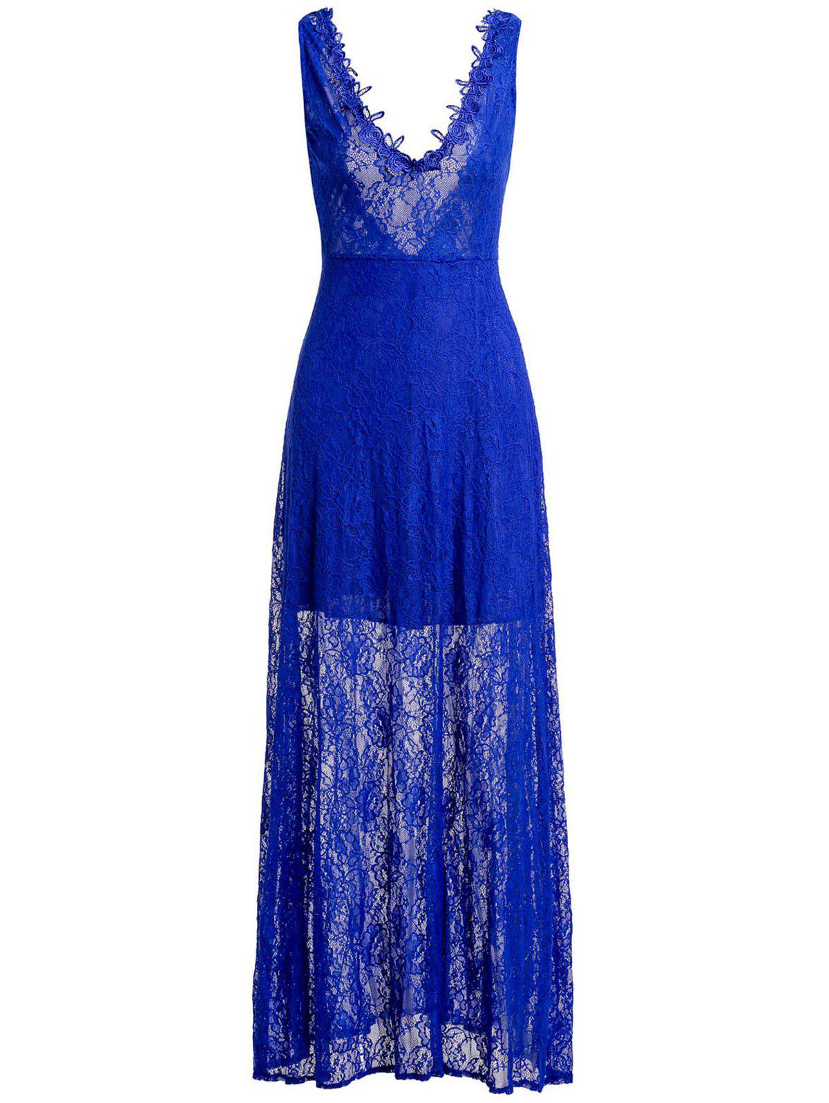 Sexy Lace Sleeveless Plunging Neck Backless Women's Dress - BLUE S