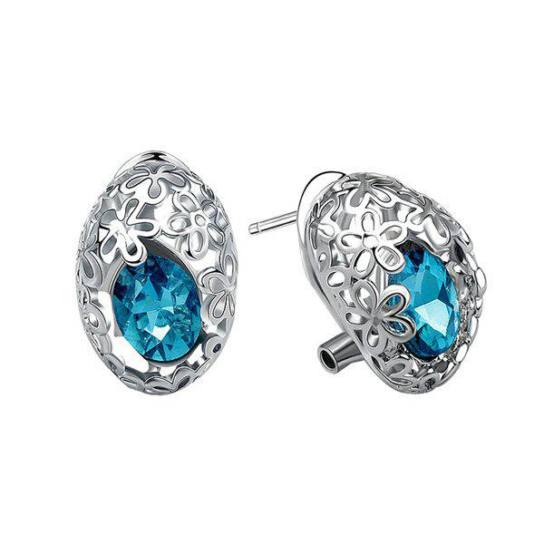 Pair of Chic Cut Out Flower and Oval Faux Gem Earrings For Women - SILVER