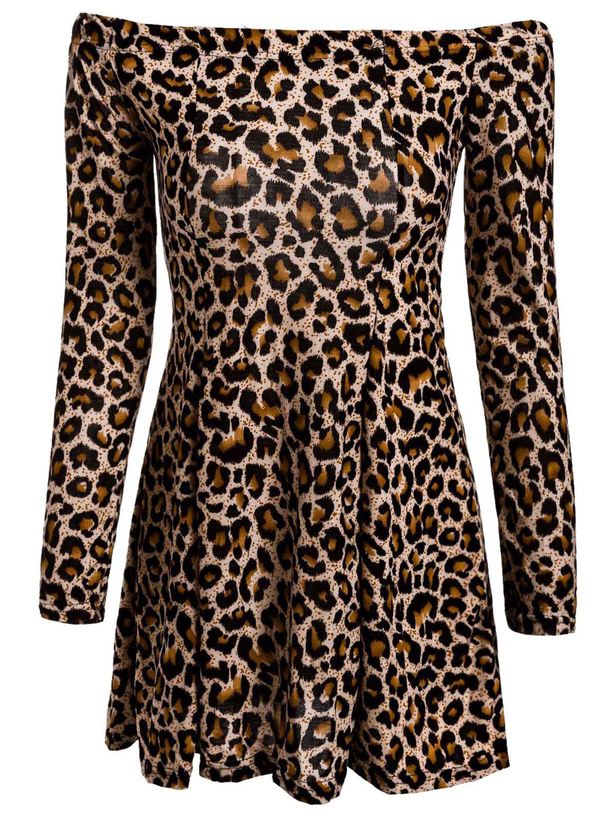 Sexy Long Sleeve Slash Collar Leopard Print Women's Dress - LEOPARD L