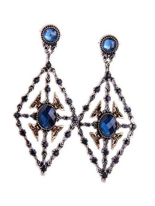 Vintage Rhombus Faux Sapphire Earrings - COLORMIX