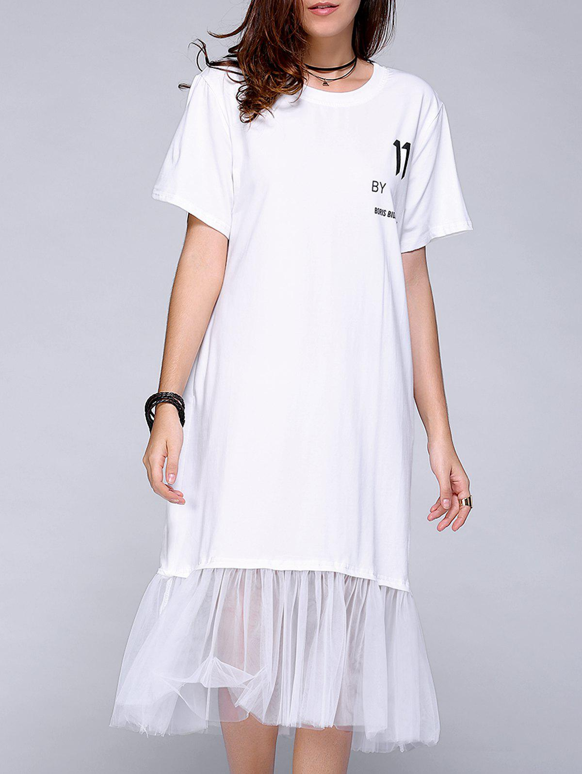 Brief Letter Print Short Sleeve Gauze Spliced Dress For Women - WHITE ONE SIZE(FIT SIZE XS TO M)