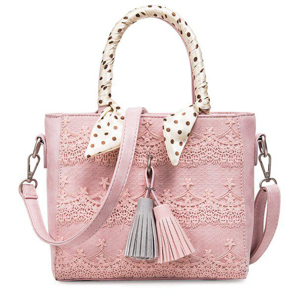 Fashion Tassels and Lace Design Women's Tote Bag - PINK