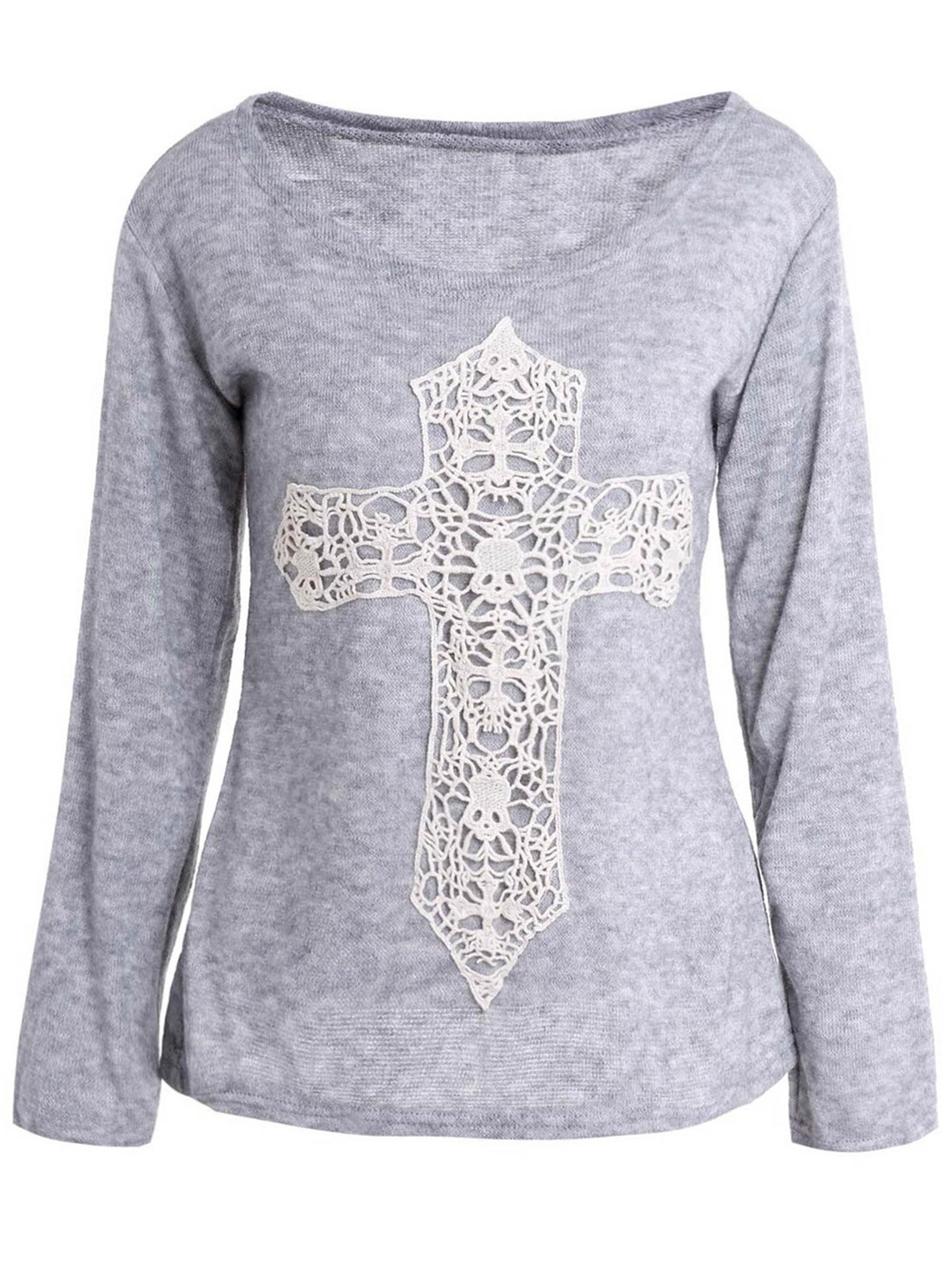 Casual laced crucifix pattern scoop neck long sleeve t for Long sleeve shirt pattern