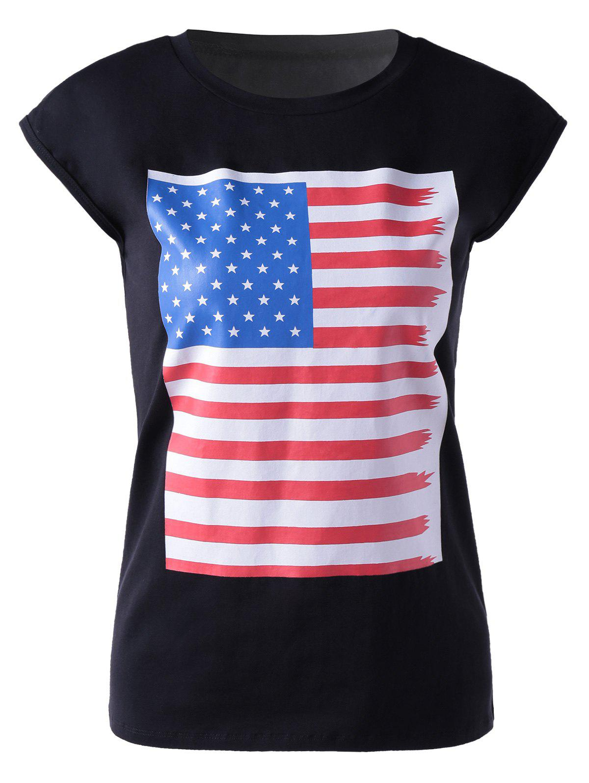 Casual Women's Round Neck Colorful Print Sleeveless T-Shirt For Women - BLACK L