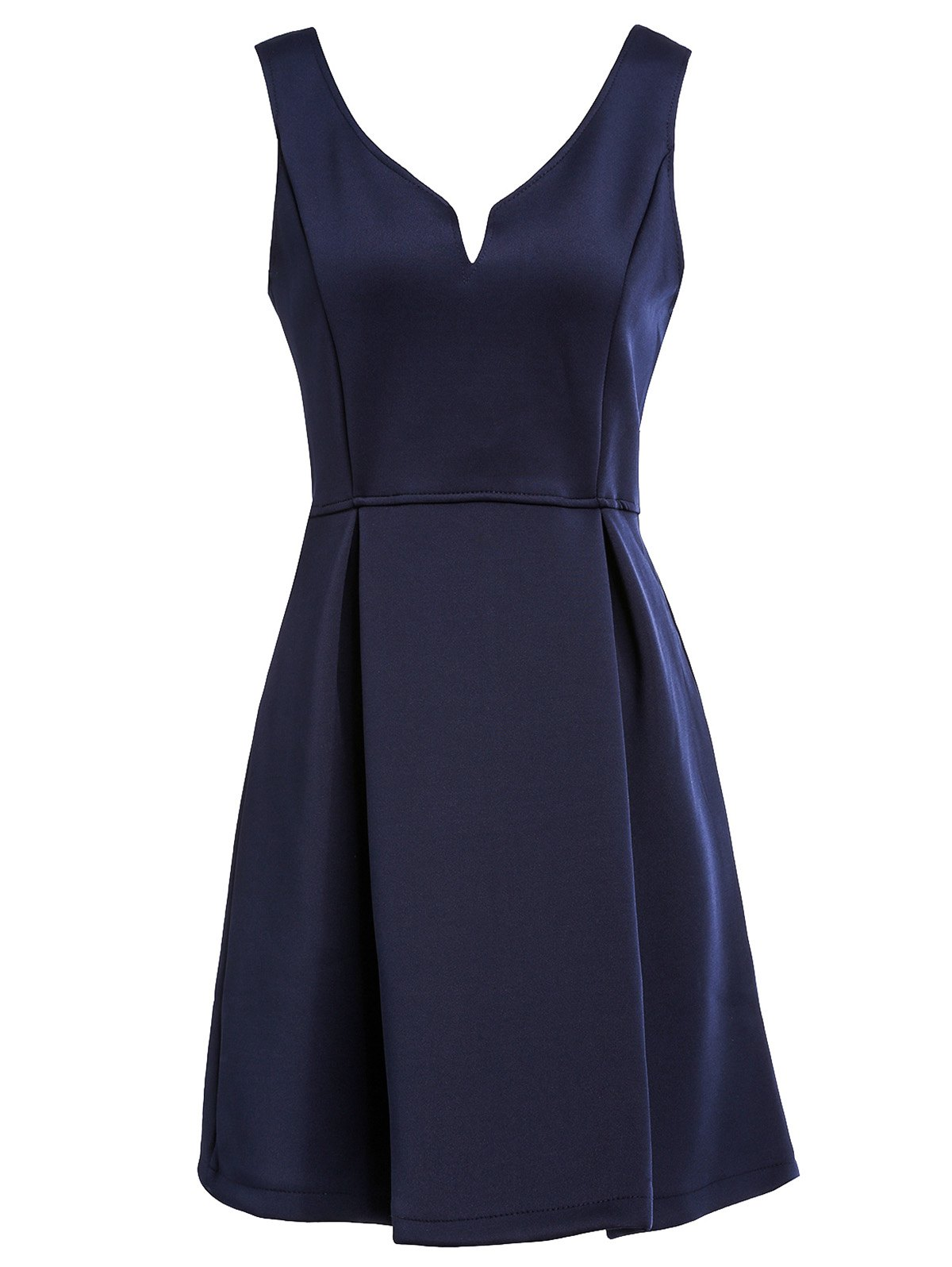 Women's Sleeveless Solid Color V-Neck A-Line Dress - NAVY BLUE M