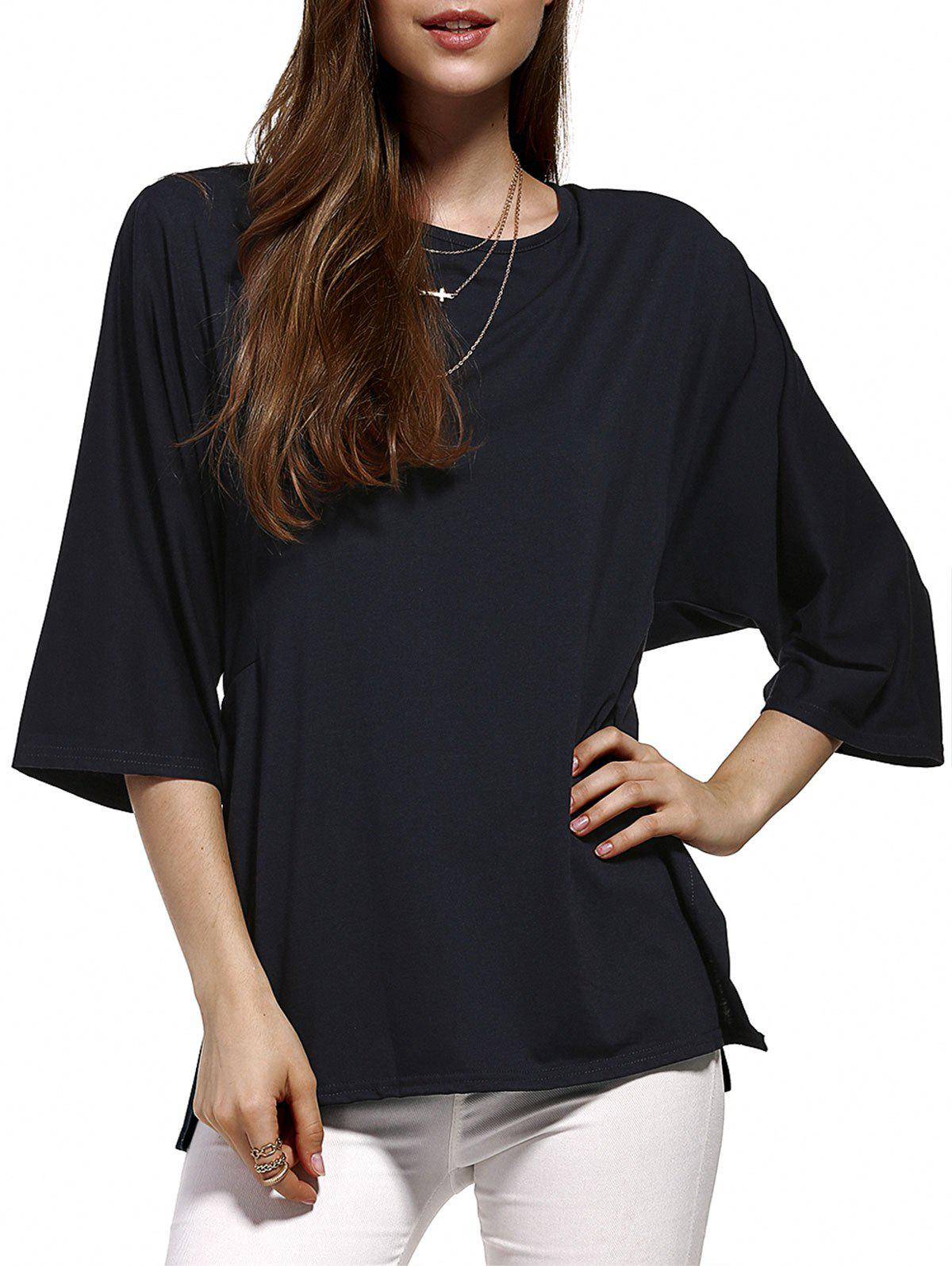 Chic Plus Size Pure Color Batwing Sleeve Women's Blouse chic plus size plunging neck batwing sleeve pure color blouse for women