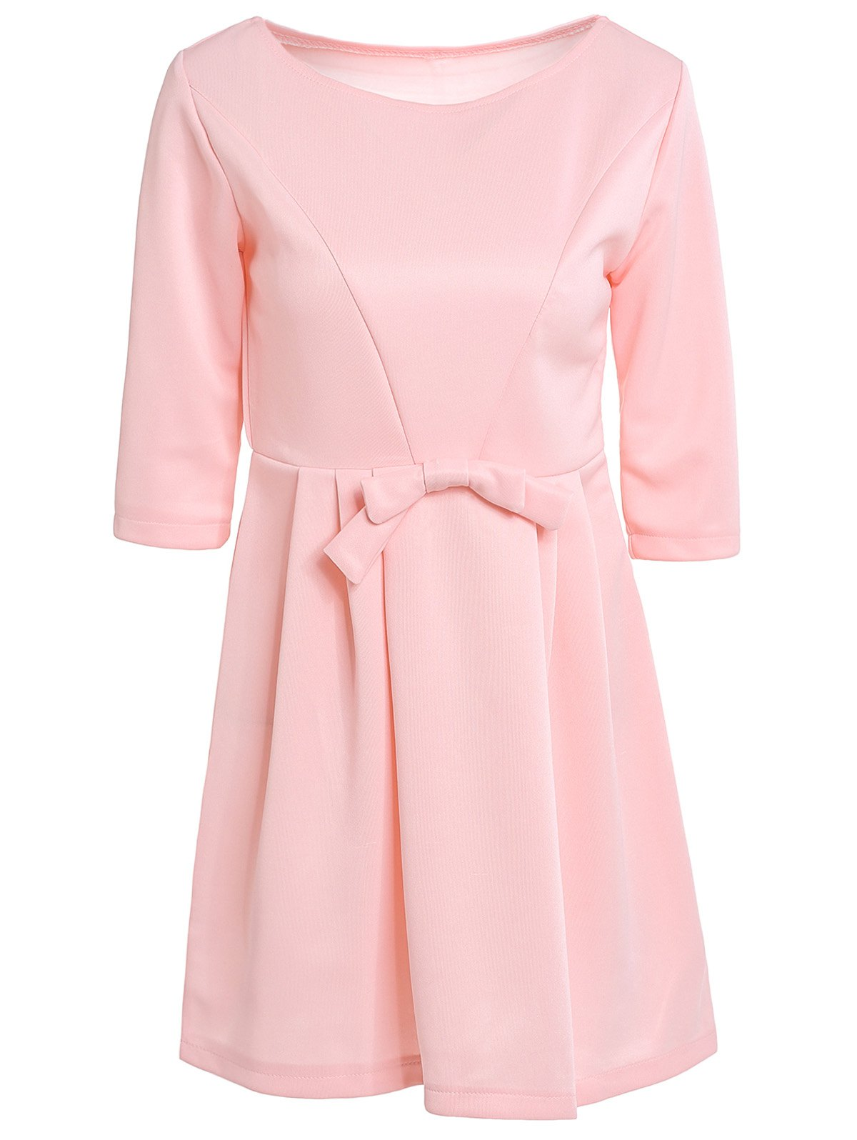 Women's Jewel Neck 3/4 Sleeve Solid Color Bowknot Decorated Dress - PINK S
