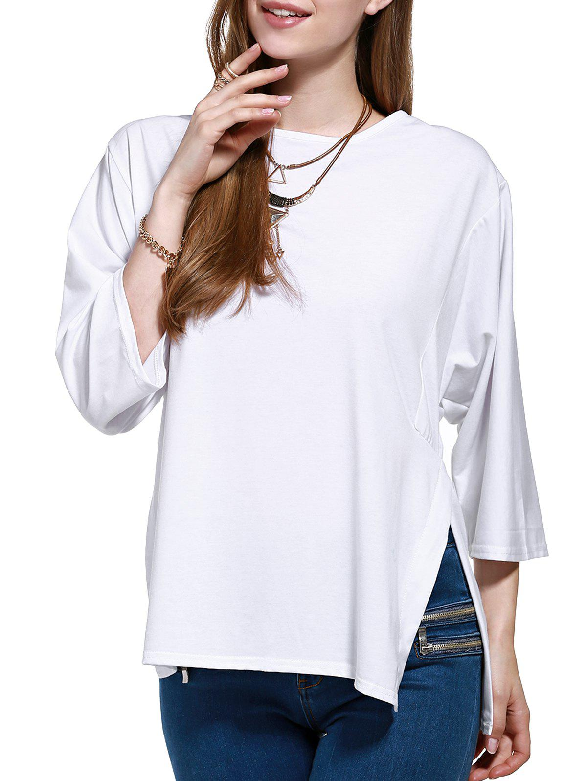 Side Slit Tie Back Plus Size Blouse - WHITE 3XL