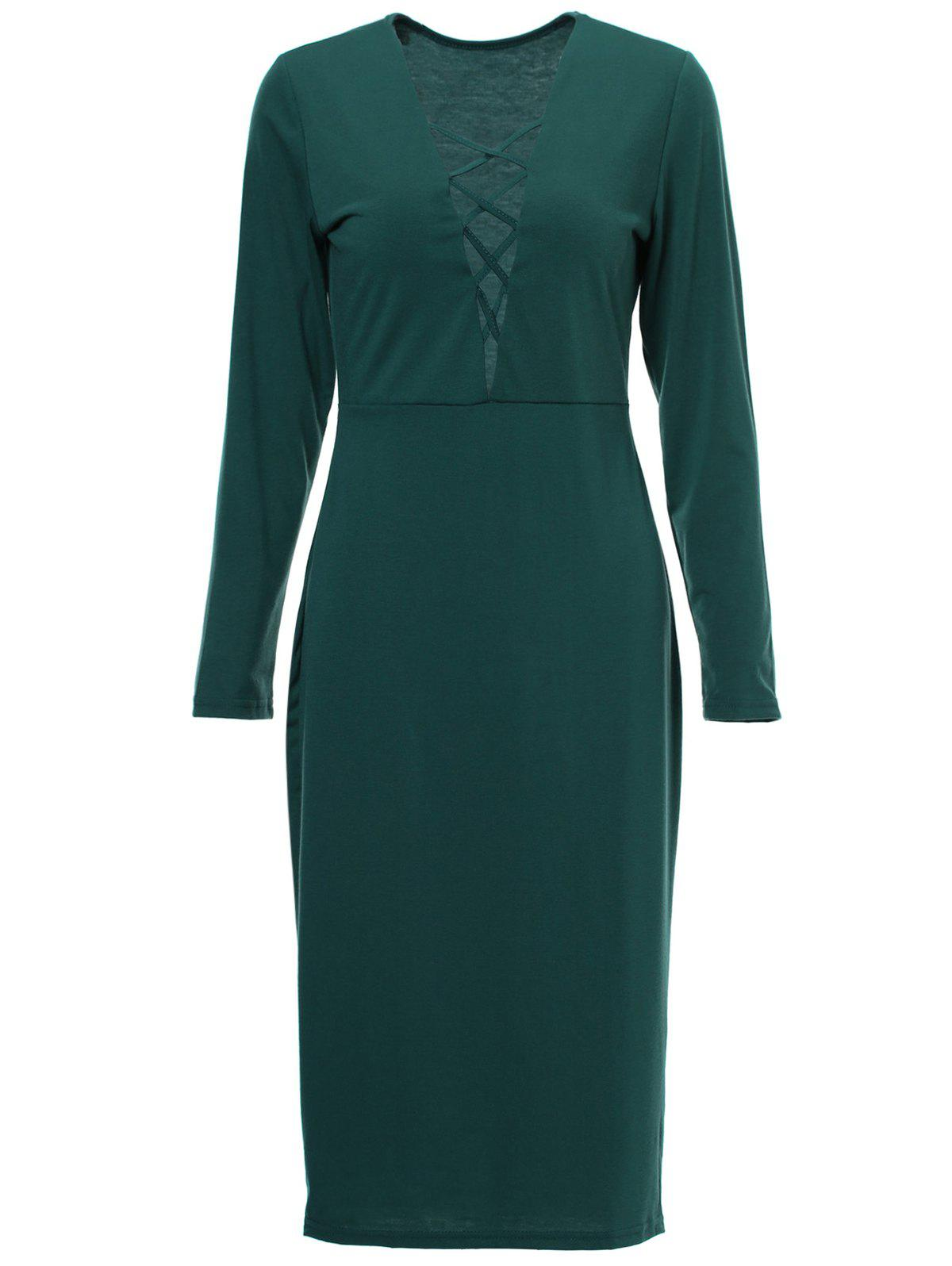Sexy Solid Color Hollow Out Plunging Neck Bodycon Long Sleeve Dress For Women - GREEN S