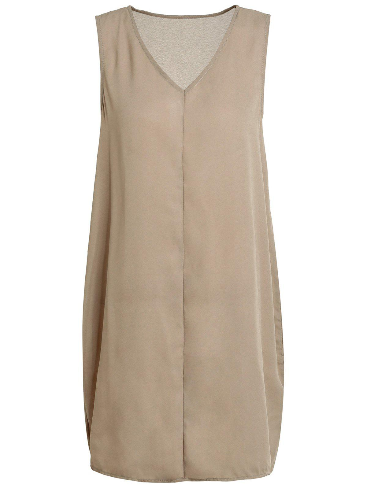 Brief Sleeveless V Neck Solid Color Women's Dress - COFFEE S