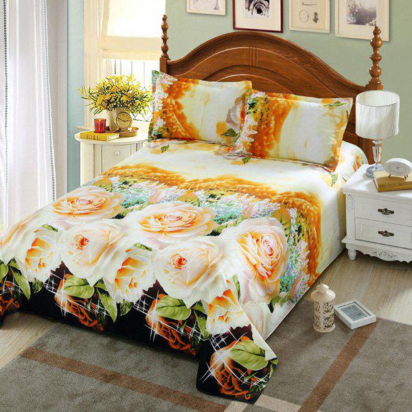 Comfortable 3D Rose Printed Sheet Duvet Cover Pillowcase 4PCS Bedding Set - LIGHT YELLOW FULL