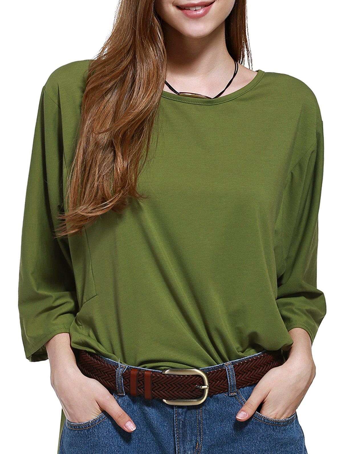 Side Slit Tie Back Plus Size Blouse - ARMY GREEN 3XL