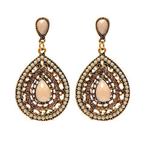Pair of Teardrop Faux Gem Beads Earrings - YELLOWISH PINK