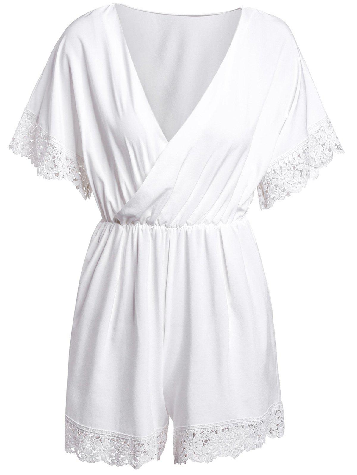 Stylish V-Neck 1/2 Sleeve Laciness Solid Color Women's Romper - WHITE L